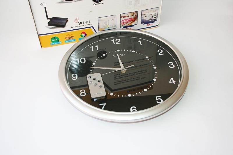 Hidden camera with remote control in a clock