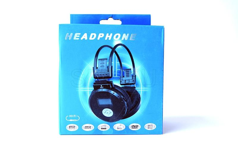 Headphones with MP3 player, radio and LCD display