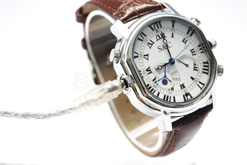 Camera in a watch with leather strap