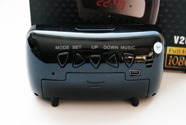 Camera in alarm clock with LEDs for night vision