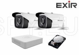 Комплект от 2 камери HIKVISION 1MP за двор и HDD 500GB EXIR