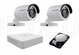 Комплеке от 2 камери HIKVISION 1MP за двор и HDD 500GB