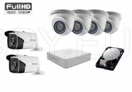 Комплект от 6 камери 2MP за голяма къща HDD 1TB