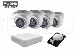 Комплект от 4 камери 2MP за малка къща HDD 1TB