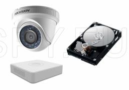 Комплект камера HIKVISION 1MP и 4 канален приемник с 500GB