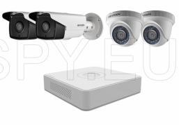 Комплект 2 външни и 2 вътрешни камери 1MP и 4 канален рекордер HIKVISION