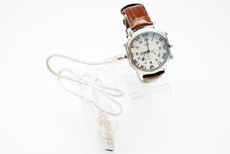 Kamera-Uhr mit Lederarmband